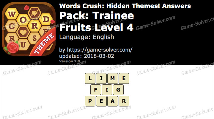 Words Crush Trainee-Fruits Level 4 Answers