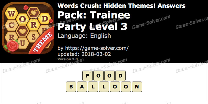 Words Crush Trainee-Party Level 3 Answers