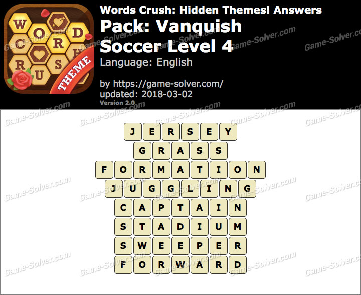 Words Crush Vanquish-Soccer Level 4 Answers