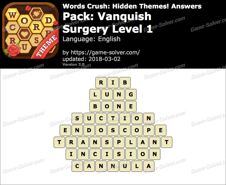 Words Crush Vanquish-Surgery Level 1 Answers