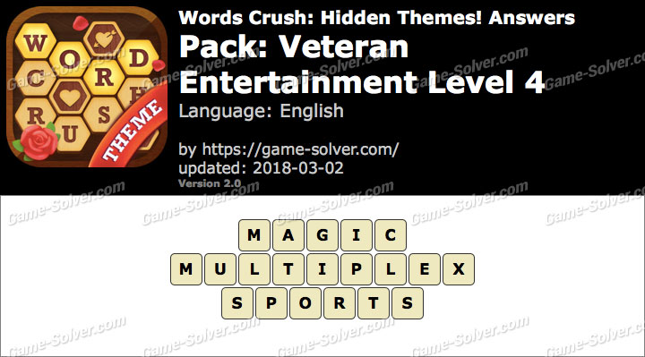 Words Crush Veteran-Entertainment Level 4 Answers