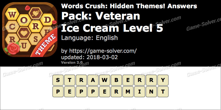 Words Crush Veteran-Ice Cream Level 5 Answers