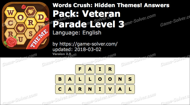 Words Crush Veteran-Parade Level 3 Answers