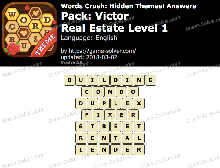 Words Crush Victor-Real Estate Level 1 Answers