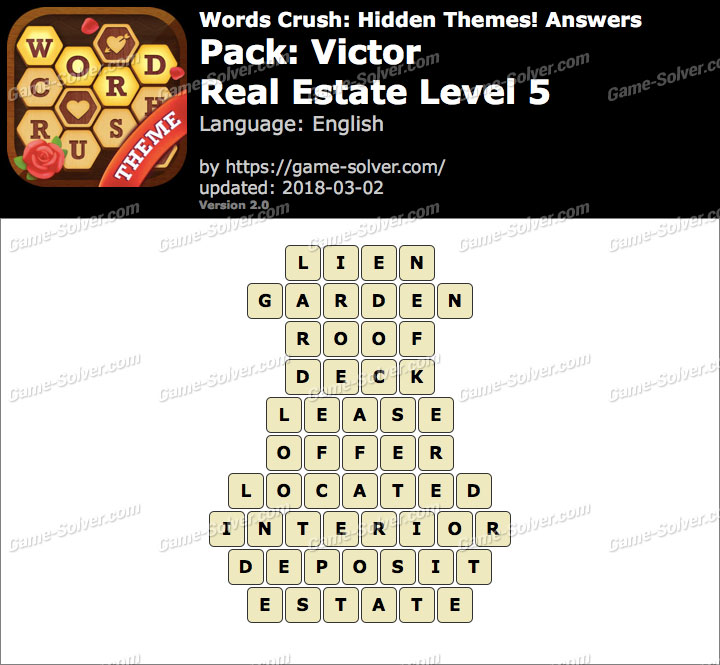Words Crush Victor-Real Estate Level 5 Answers