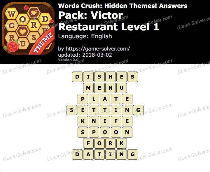 Words Crush Victor-Restaurant Level 1 Answers