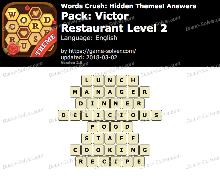 Words Crush Victor-Restaurant Level 2 Answers