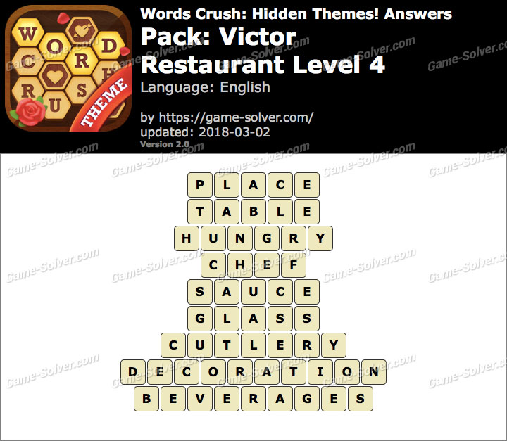 Words Crush Victor-Restaurant Level 4 Answers