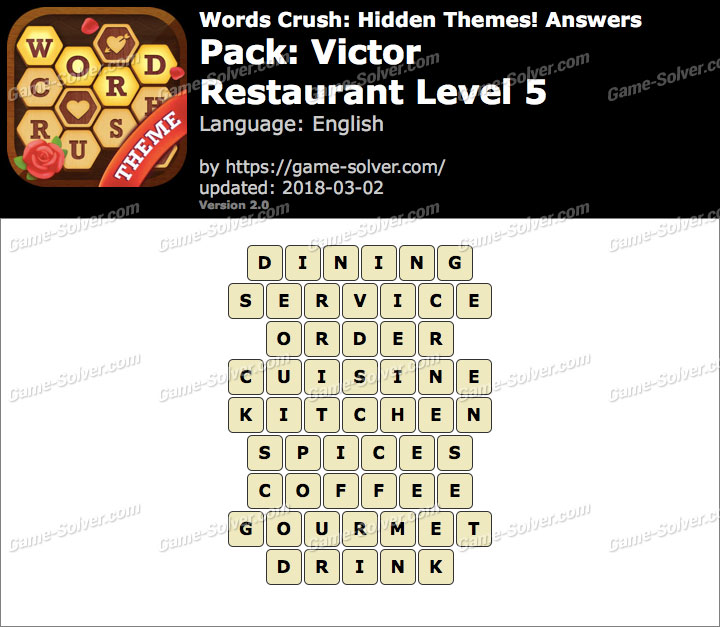Words Crush Victor-Restaurant Level 5 Answers