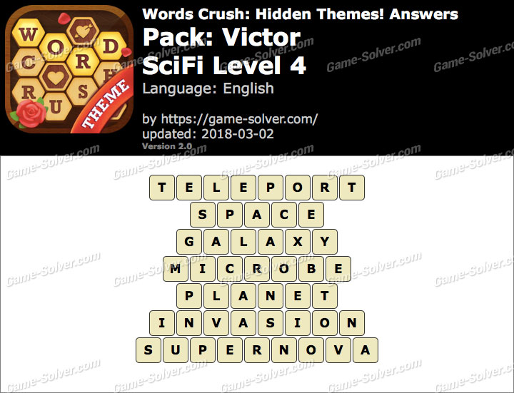 Words Crush Victor-SciFi Level 4 Answers