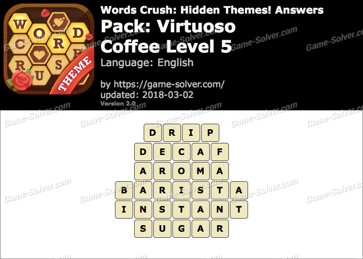 Words Crush Virtuoso-Coffee Level 5 Answers