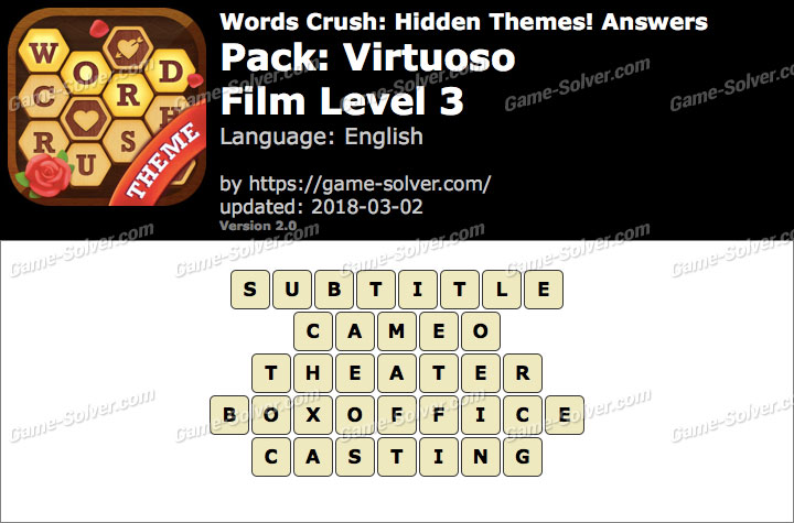 Words Crush Virtuoso-Film Level 3 Answers