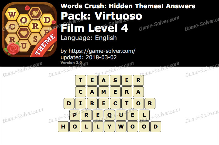 Words Crush Virtuoso-Film Level 4 Answers
