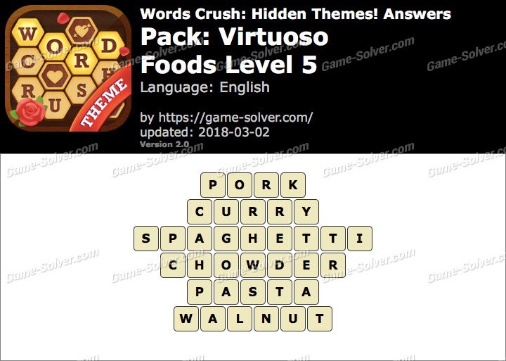 Words Crush Virtuoso-Foods Level 5 Answers