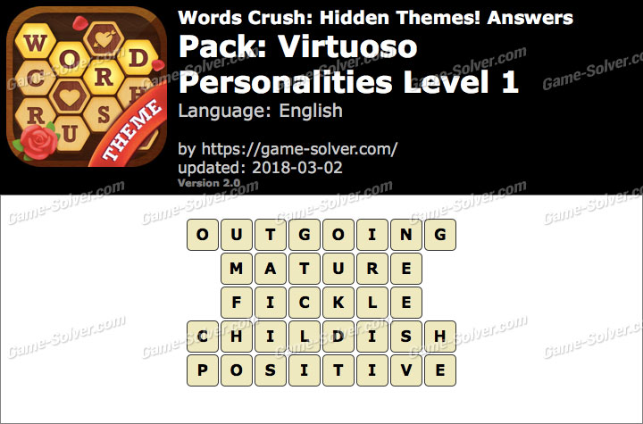 Words Crush Virtuoso-Personalities Level 1 Answers