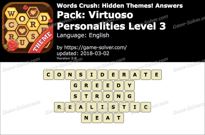 Words Crush Virtuoso-Personalities Level 3 Answers