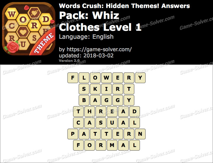 Words Crush Whiz-Clothes Level 1 Answers