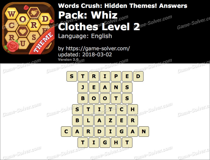 Words Crush Whiz-Clothes Level 2 Answers