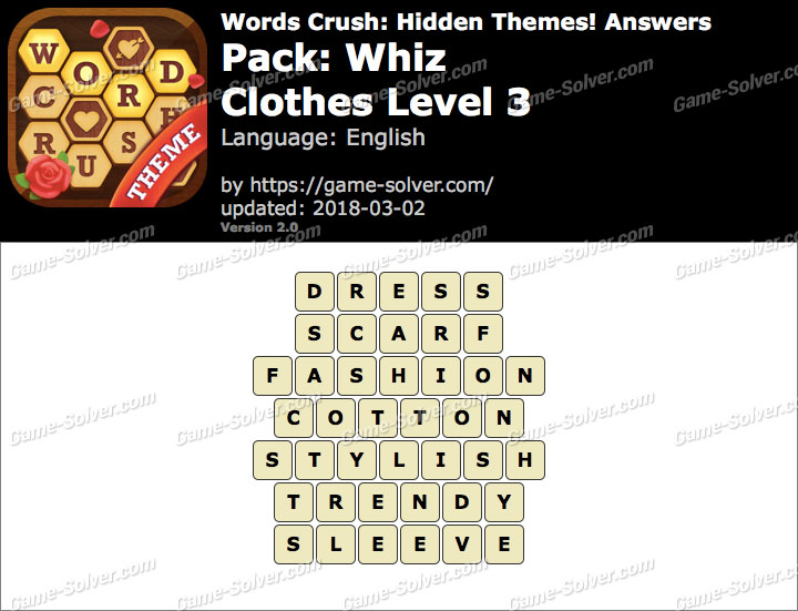 Words Crush Whiz-Clothes Level 3 Answers
