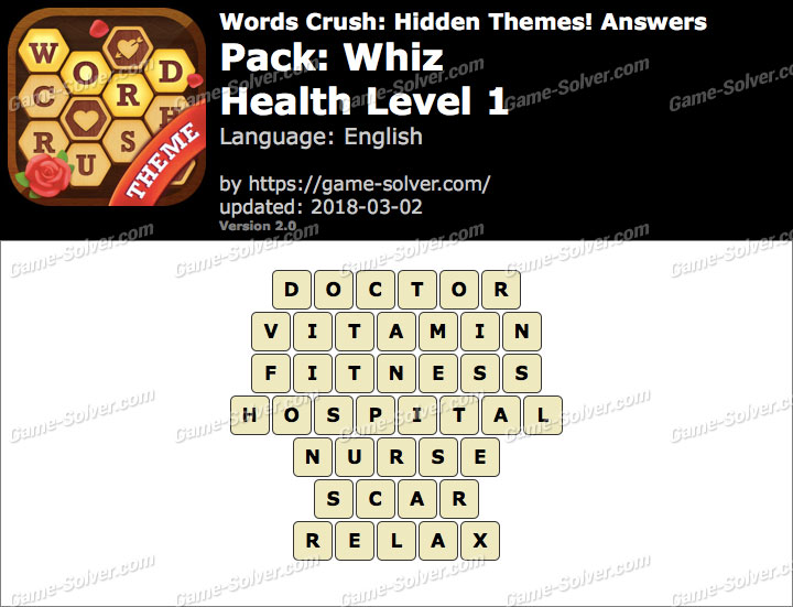 Words Crush Whiz-Health Level 1 Answers
