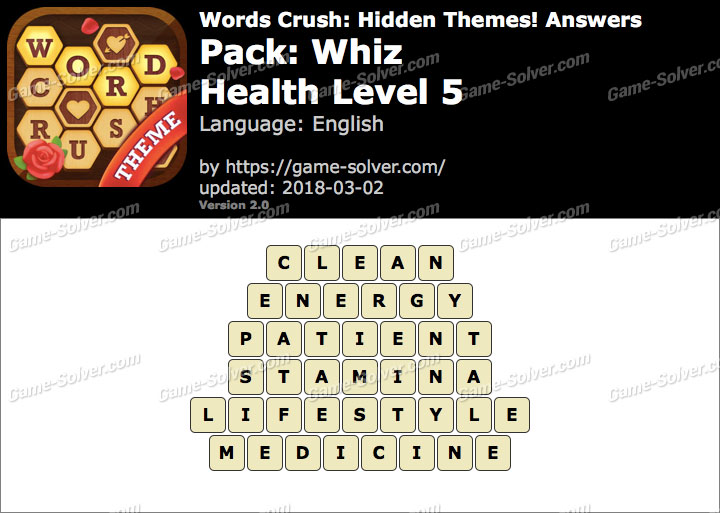 Words Crush Whiz-Health Level 5 Answers