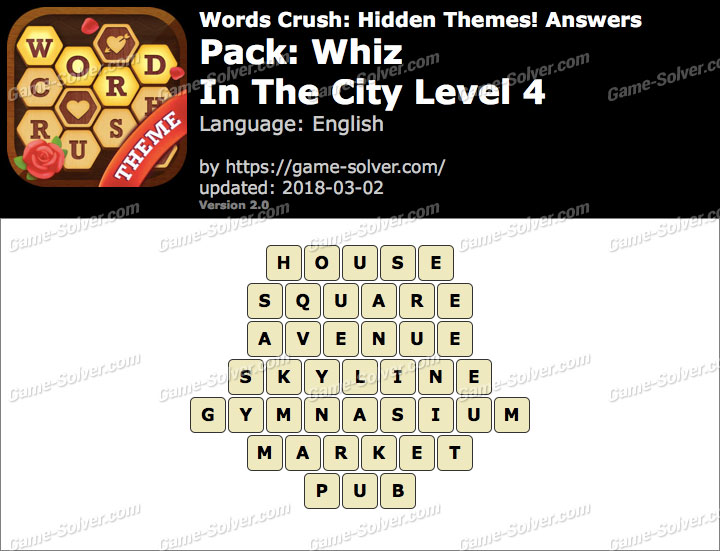 Words Crush Whiz-In The City Level 4 Answers