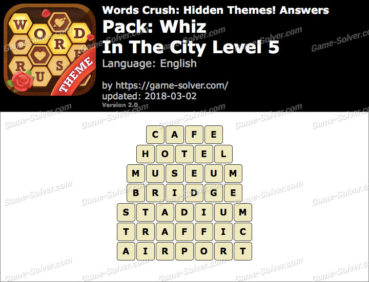 Words Crush Whiz-In The City Level 5 Answers