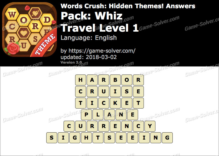 Words Crush Whiz-Travel Level 1 Answers