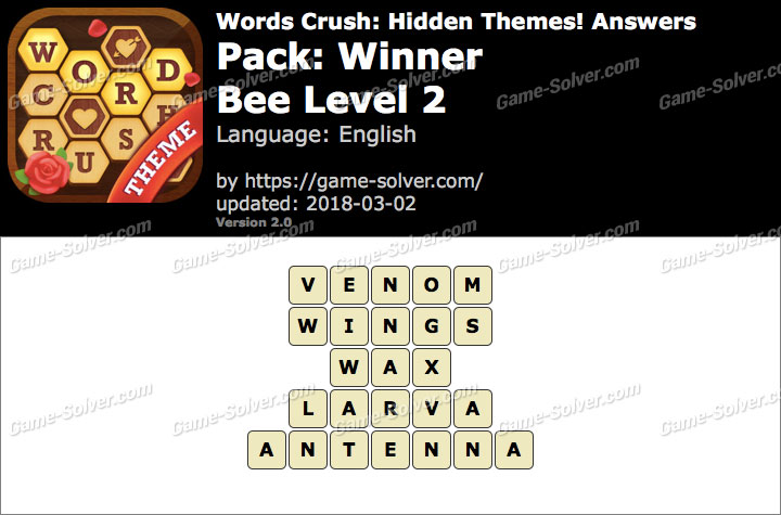 Words Crush Winner-Bee Level 2 Answers