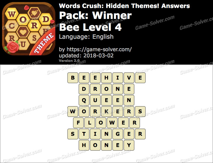 Words Crush Winner-Bee Level 4 Answers
