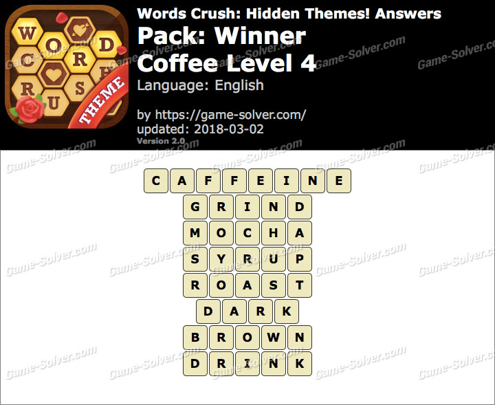 Words Crush Winner-Coffee Level 4 Answers