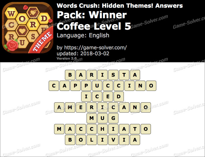 Words Crush Winner-Coffee Level 5 Answers