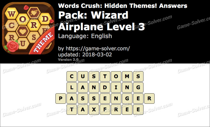 Words Crush Wizard-Airplane Level 3 Answers
