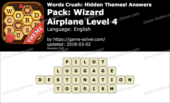 Words Crush Wizard-Airplane Level 4 Answers