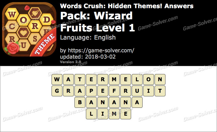 Words Crush Wizard-Fruits Level 1 Answers