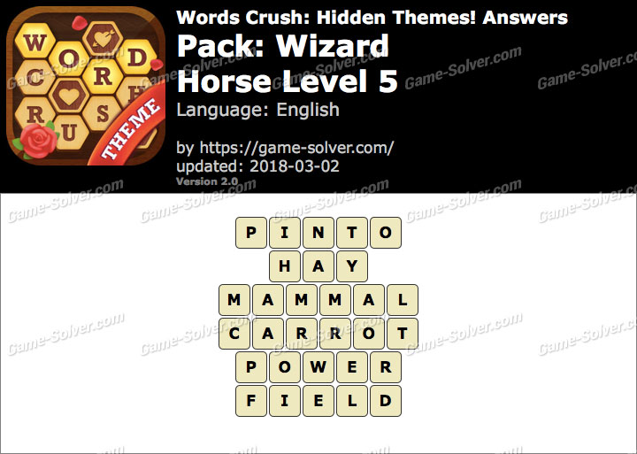 Words Crush Wizard-Horse Level 5 Answers