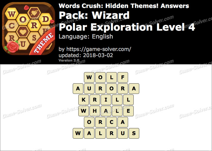 Words Crush Wizard-Polar Exploration Level 4 Answers