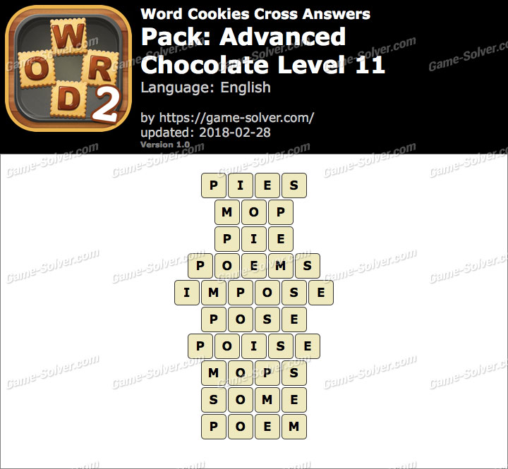 Word Cookies Cross Advanced-Chocolate Level 11 Answers