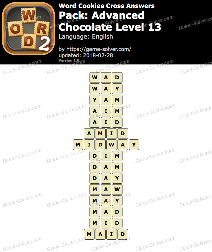 Word Cookies Cross Advanced-Chocolate Level 13 Answers