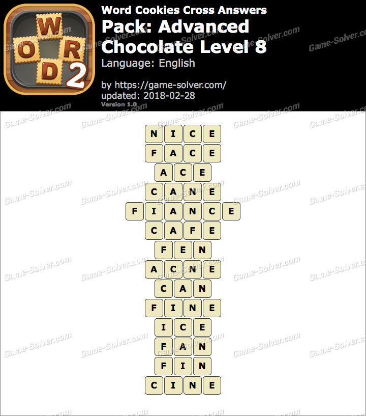 Word Cookies Cross Advanced-Chocolate Level 8 Answers