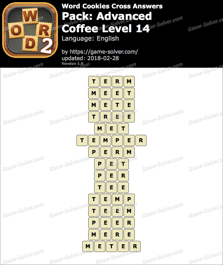 Word Cookies Cross Advanced-Coffee Level 14 Answers