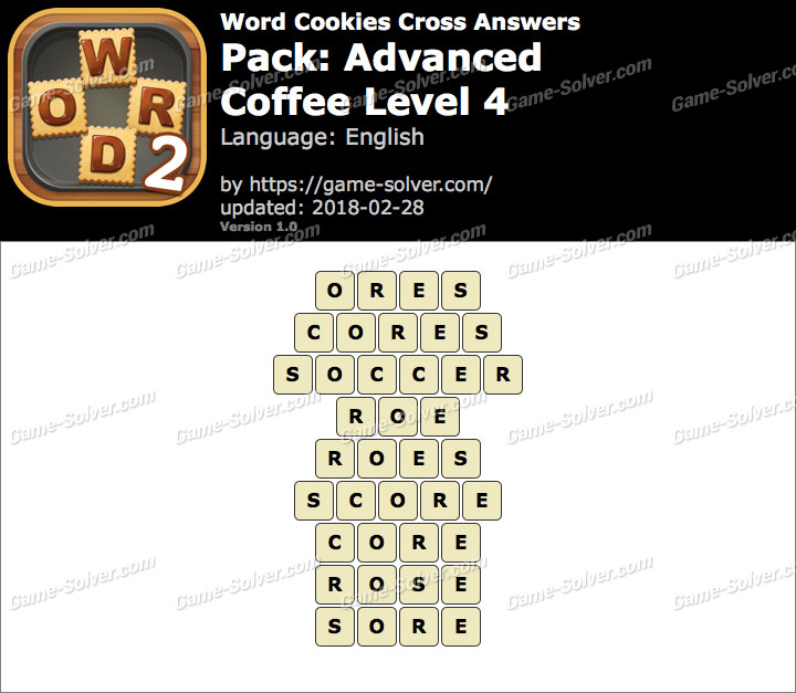 Word Cookies Cross Advanced-Coffee Level 4 Answers