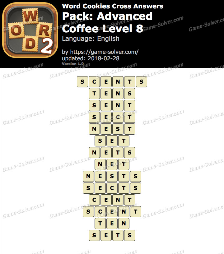 Word Cookies Cross Advanced-Coffee Level 8 Answers