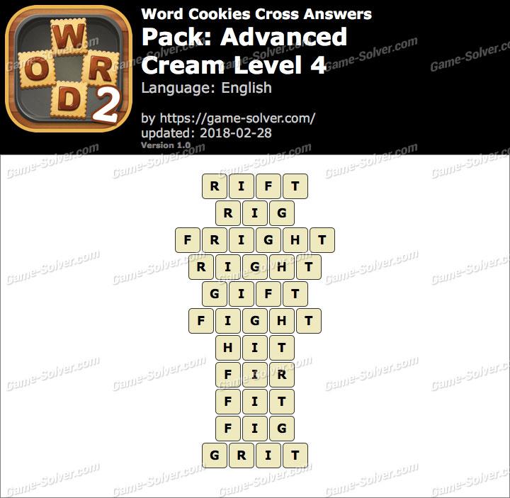 Word Cookies Cross Advanced-Cream Level 4 Answers