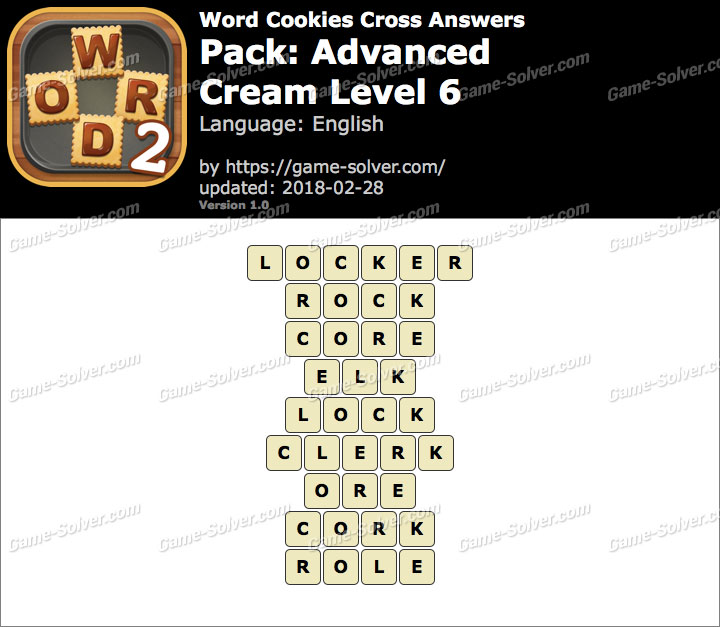 Word Cookies Cross Advanced-Cream Level 6 Answers