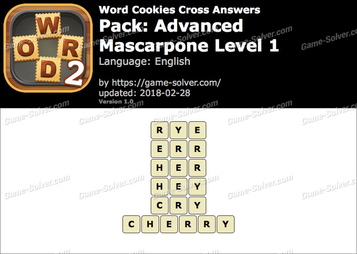 Word Cookies Cross Advanced-Mascarpone Level 1 Answers