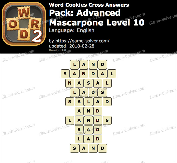 Word Cookies Cross Advanced-Mascarpone Level 10 Answers