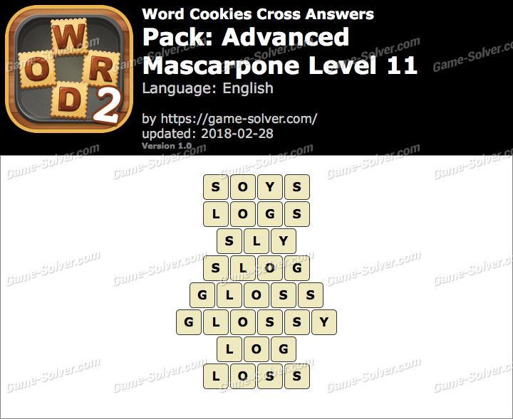 Word Cookies Cross Advanced-Mascarpone Level 11 Answers