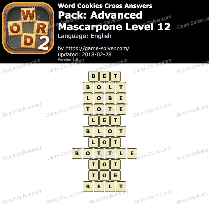 Word Cookies Cross Advanced-Mascarpone Level 12 Answers