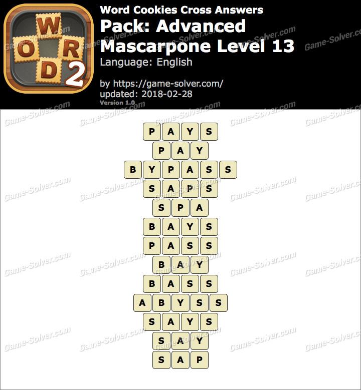 Word Cookies Cross Advanced-Mascarpone Level 13 Answers